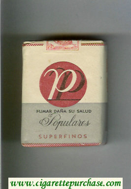 P Populares Superfinos white and grey and red cigarettes wide flat hard box