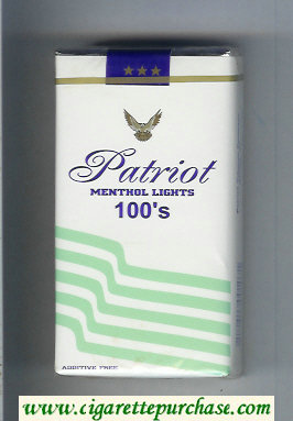 Patriot Menthol Lights 100s cigarettes soft box