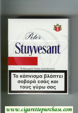 Peter Stuyvesant 25 white and red cigarettes hard box