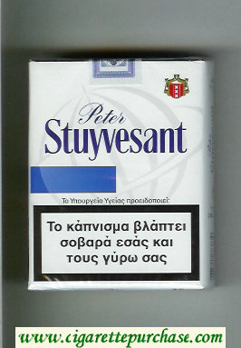 Peter Stuyvesant 25 white and blue cigarettes soft box