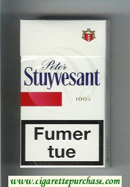 Peter Stuyvesant 100s white and red cigarettes hard box