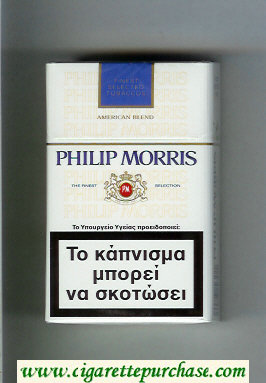Philip Morris American Blend white and blue cigarettes hard box
