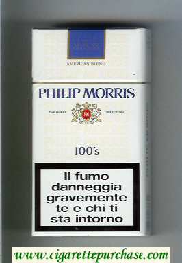 Philip Morris American Blend 100s white and blue cigarettes hard box