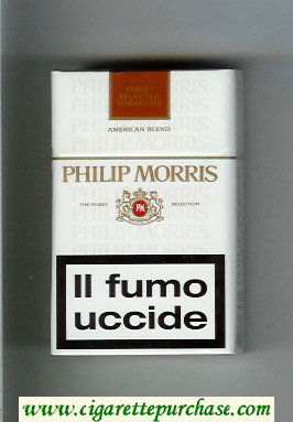 Philip Morris American Blend white and brown cigarettes hard box