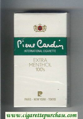 Pierre Cardin Extra Menthol 100s cigarettes hard box