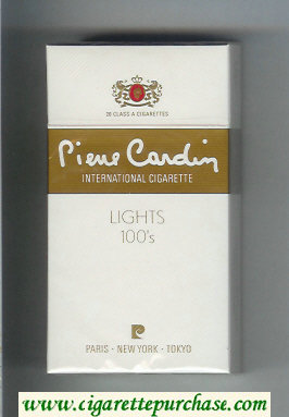 Pierre Cardin Lights 100s white and gold cigarettes hard box