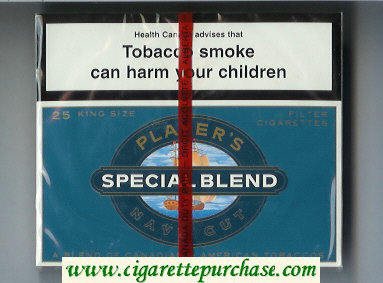 Player's Navy Cut Special Blend 25 blue cigarettes wide flat hard box