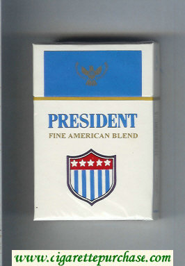 President Fine American Blend white and blue cigarettes hard box