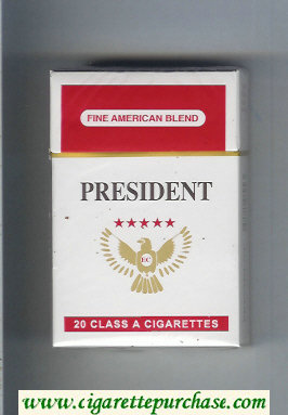 President Fine American Blend white and red cigarettes hard box