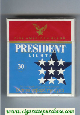 President Lights Fine American Blend 30 blue and red cigarettes hard box
