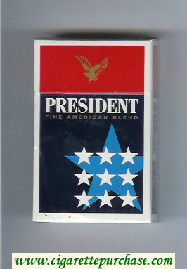 President Fine American Blend blue and red cigarettes hard box