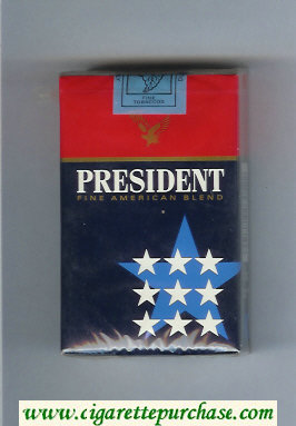 President Fine American Blend blue and red cigarettes soft box