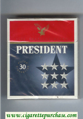 President Fine American Blend 30 blue and grey and red cigarettes hard box