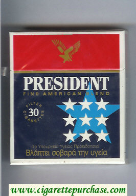 President Fine American Blend 30 blue and red cigarettes hard box