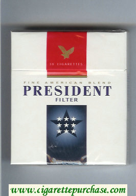 President Filter Fine American Blend 30 white and blue and red cigarettes hard box