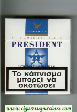 President 30 white and blue cigarettes hard box