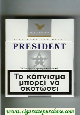 President 30 white and grey cigarettes hard box