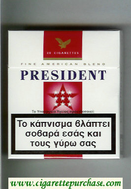 President 30 white and red cigarettes hard box