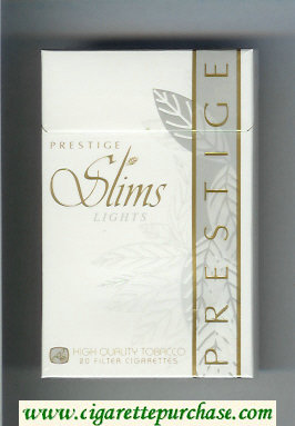 Prestige Slims Lights 100s cigarettes hard box