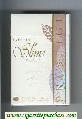 Prestige Slims Vanilla 100s cigarettes hard box