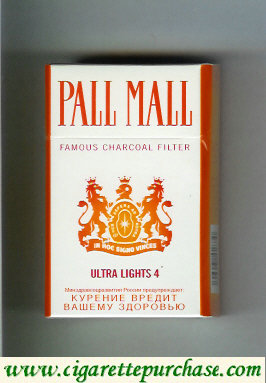 Pall Mall Famous Charcoal Filter Ultra Lights 4 cigarettes hard box