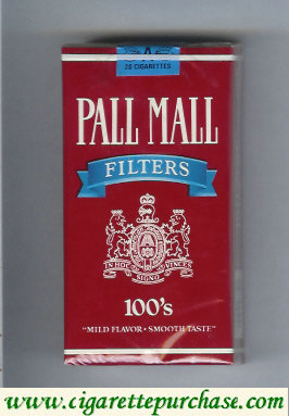 Pall Mall Filters red and blue 100s cigarettes soft box