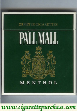 Pall Mall Menthol Filter Cigarettes green 100s cigarettes wide flat hard box