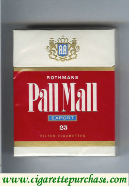 Pall Mall Rothmans Export red and white 25s cigarettes hard box