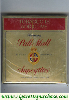 Pall Mall Rothmans Superfilter gold cigarettes wide flat hard box