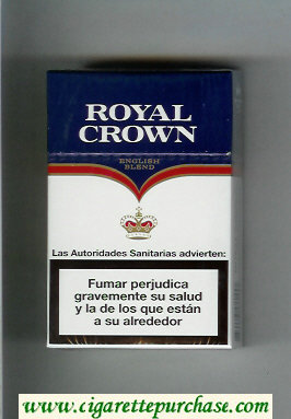 Royal Crown English Blend cigarettes white and blue hard box