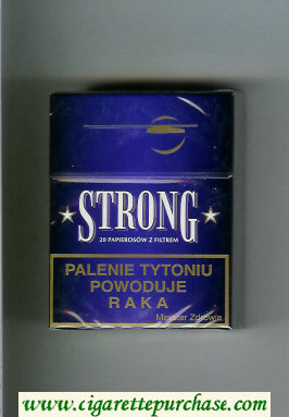 Strong cigarettes blue hard box