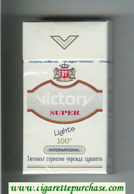 Victory Super Lights 100s International cigarettes hard box