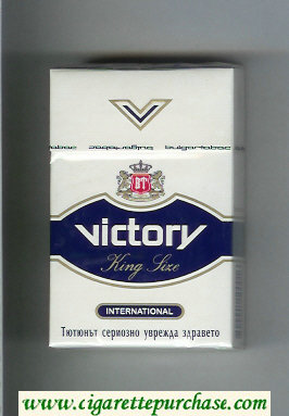 Victory International cigarettes white and blue hard box