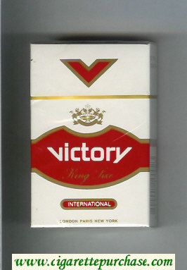 Victory International cigarettes white and red hard box