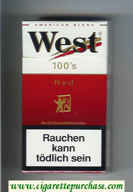 West 'R' 100s Red American Blend cigarettes hard box