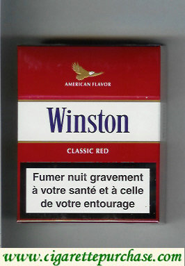 Discount Winston with eagle from above on the top American Flavor Classic Red 25s cigarettes hard box