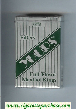 Yours 'R' Full Flavor Menthol cigarettes silver and green soft box