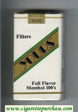 Yours 'R' Full Flavor Menthol 100s cigarettes white and gold soft box