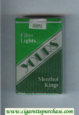 Yours 'R' Lights Menthol cigarettes green and silver and dark green soft box