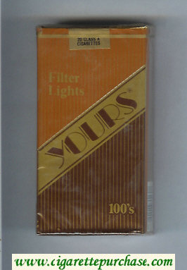 Yours 'R' Lights 100s cigarettes light brown and gold and brown soft box