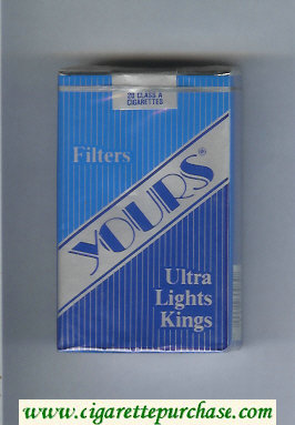 Yours 'R' Ultra Lights cigarettes blue and silver and dark blue soft box