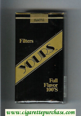 Yours 'TM' Full Flavor 100s cigarettes black and gold soft box
