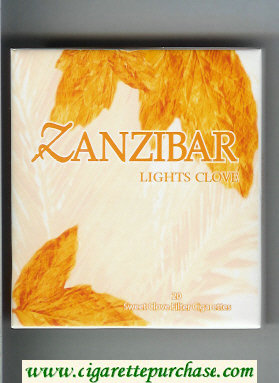Zanzibar Lights Clove 100s cigarettes wide flat hard box