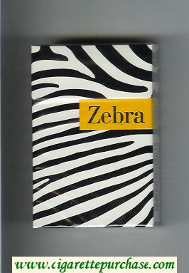 Zebra cigarettes white and black and yellow hard box