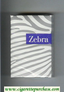 Zebra cigarettes white and grey and blue hard box